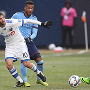 NEW YORK, NEW YORK - March 18:  Ignacio Piatti #10 of Montreal Impact is challenged by Ethan White #3 of New York City FC during the New York City FC Vs Montreal Impact regular season MLS game at Yankee Stadium on March 18, 2017 in New York City. (Photo by Tim Clayton/Corbis via Getty Images)