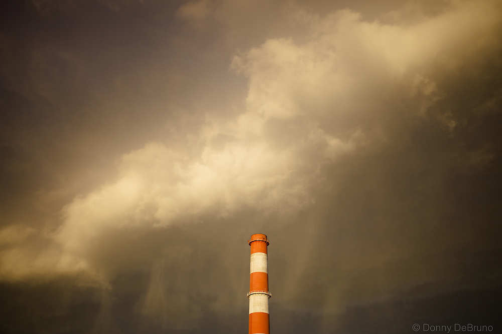 Rain falls on Smoke stack
