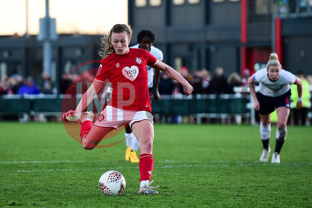 Charlie Wellings of Bristol City takes a penalty which is saved by Anke Preuss of Liverpool Women - Mandatory by-line: Ryan Hiscott/JMP - 19/01/2020 - FOOTBALL - Stoke Gifford Stadium - Bristol, England - Bristol City Women v Liverpool Women - Barclays FA Women's Super League