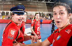 Cvijic Dragana of Krim and Andrea Lekic of Krim celebrate after the 2nd Round of Group 1 at Women Champions League handball match between RK Krim Mercator, Ljubljana and HC Leipzig, Germany on February 13, 2010 in Arena Kodeljevo, Ljubljana, Slovenia. Krim defeated  Leipzig 32-26. (Photo by Vid Ponikvar / Sportida)