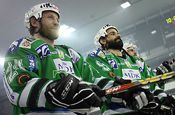 Tomaz Vnuk and Raffaele Intranuovo after the sixth game of the Final of EBEL league (Erste Bank Eishockey Liga) between ZM Olimpija vs EC Red Bull Salzburg,  on March 25, 2008 in Arena Tivoli, Ljubljana, Slovenia. Red Bull Salzburg won the game 3:2 and series 4:2 and became the Champions of EBEL league 2007/2008.  (Photo by Vid Ponikvar / Sportal Images)..