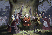 William Shakespeare 'The Merry Wives of Windsor', play first performed 1597 or 1600. Falstaff, having kept his supposed assignation with in Windsor Forest Mistress Ford as Herne the Hunter and been pinched and punched by 'fairies' says 'I do begin to perceive that I am made an Ass'. Act 5 Sc 5. Chromolithograph from illustration by George Cruikshank from edition of Shakespeare's works published London 1856-1858.