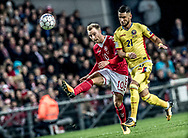 FOOTBALL: Christian Eriksen (Denmark) crosses the ball in front of Dragoş Grigore (Romania) during the World Cup 2018 UEFA Qualifier Group E match between Denmark and Romania at Parken Stadium on October 8, 2017 in Copenhagen, Denmark. Photo by: Claus Birch / ClausBirch.dk.
