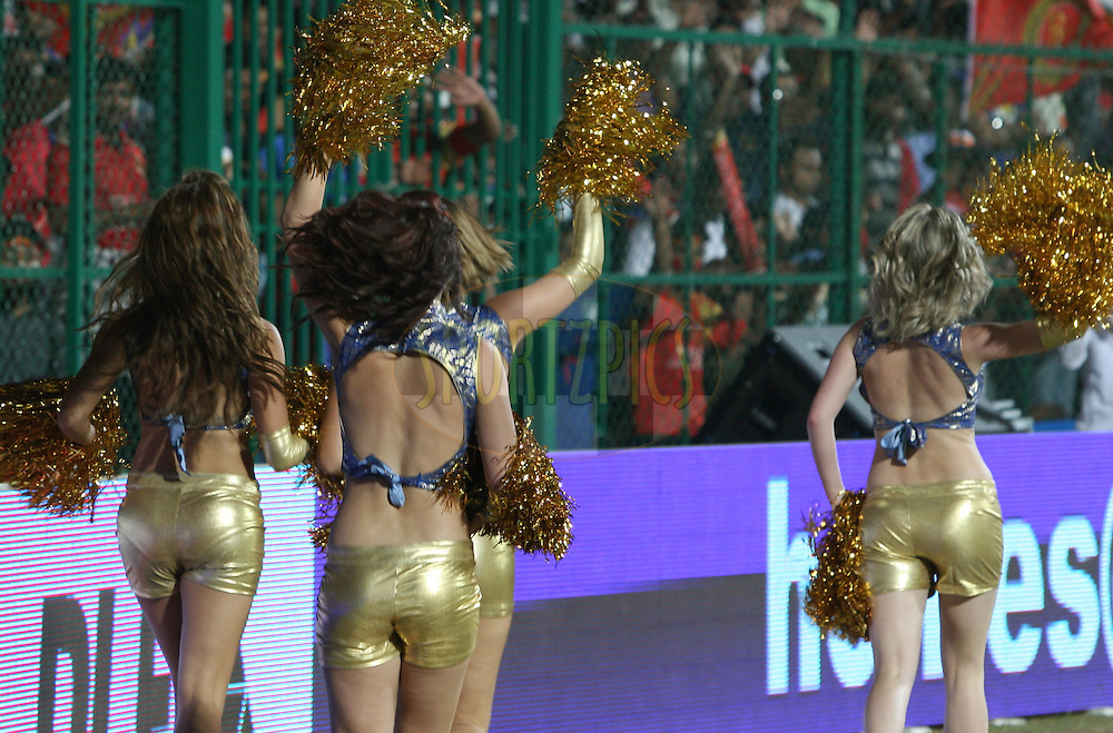 Mumbai Indians Cheer Girls entertaining the crowd during match 8 of the the Indian Premier League ( IPL ) Season 4 between the Royal Challengers Bangalore and the Mumbai Indians held at the Chinnaswamy Stadium, Bangalore, Karnataka, India on the 12th April 2011..Photo by Vino John/BCCI/SPORTZPICS