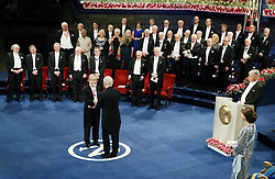 """Nobelpreisverleihung 2016 in der Konzerthalle in Stockholm / 101216 ***Nobel laureate Yoshinori Ohsumi receives a medal and diploma from Swedish King Carl XVI Gustaf at an award ceremony in Stockholm on Dec. 10, 2016. Ohsumi was awarded the Nobel prize in physiology or medicine for elucidating """"autophagy,"""" an intracellular process that degrades and recycles proteins."""