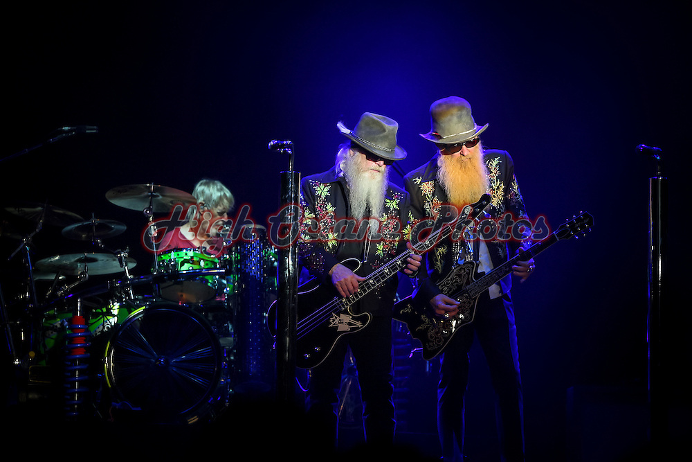 Billy Gibbons, Dusty Hill and Frank Beard of ZZ Top, on stage at Perth Motorplex.