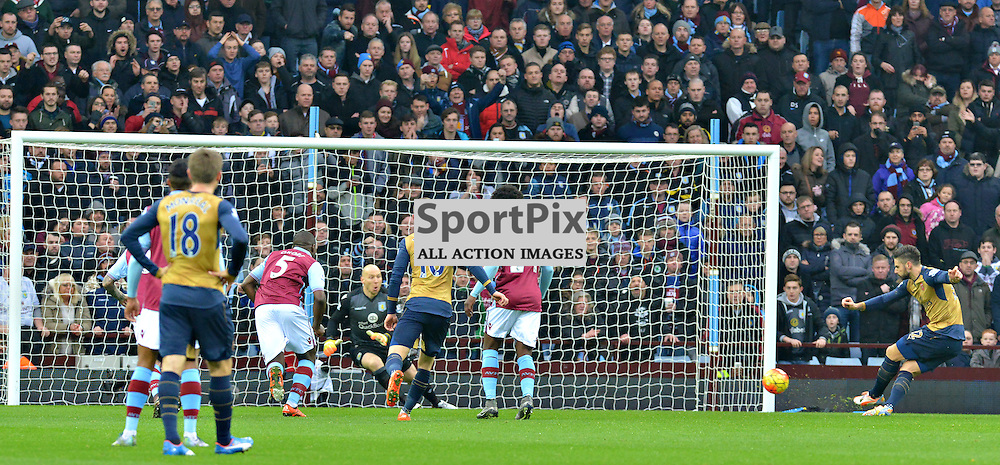 Oliver Giroud slots his penalty home to put Arsenal 1-0 up at Villa Park....(c) BILLY WHITE | SportPix.org.uk