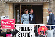 © Licensed to London News Pictures. 07/05/2015. Spelhurst, UK Prime Minister David Cameron and his wife Samantha cast their votes in the 2015 general Election in Spelhurst, Oxfordshire today 7th May 2015. Photo credit : Stephen Simpson/LNP