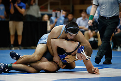 2017 February 08: Duke Blue Devils wrestling during a 25-15 loss to the the North Carolina Tar Heels at Card Gymnasium in Durham, NC.<br /> <br /> 174: No. 6 Ethan Ramos (UNC) dec. Connor Bass (Duke), 10-5