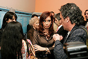 "Cristina Fernández de Kirchner, President of Argentina, addresses the opening of the Argentinean exhibition on the history of the disappeared and the struggle of the ""Abuelas de Plaza de Mayo""."