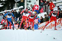 Cyrill Miranda (FRA 14) Dario Cologna (SUI 4) Oystein Pettersen (NOR 24) und John Kristian Dahl (NOR 17) im Halbfinal © Andy Mueller/EQ Images