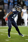 Tennessee Titans inside linebacker Jayon Brown (55) celebrates after Titans free safety Kevin Byard (31) makes a first quarter sack for a loss of 8 yards to the Jacksonville Jaguars 32 yard line during the week 14 regular season NFL football game against the Jacksonville Jaguars on Thursday, Dec. 6, 2018 in Nashville, Tenn. The Titans won the game 30-9. (©Paul Anthony Spinelli)