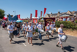 © Licensed to London News Pictures.  22/07/2018; Tolpuddle, Dorset, UK. The Tolpuddle Martyrs Festival for trade unionism, held every year, commemorates the birth of the trade union movement in the 19th century when the Tolpuddle Martyrs were transported to Australia for forming a trade union of agricultural labourers in Dorset. This year is also the 150th anniversary of the TUC. Photo credit: Simon Chapman/LNP