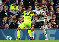 Football - 2018 / 2019 EFL Carabao Cup (League) Cup - Fulham vs. Exeter City<br /> <br /> Luke Croll (Exeter FC) holds off the attentions of Rui Fonte (Fulham FC) at Craven Cottage.<br /> <br /> COLORSPORT/DANIEL BEARHAM
