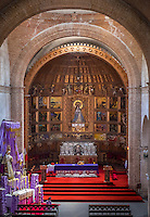 AREQUIPA, PERU - CIRCA APRIL 2014: Interior of Church in the San Francisco Monastery in Arequipa. Arequipa is the Second city of Perú by population with 861,145 inhabitants and is the second most industrialized and commercial city of Peru.