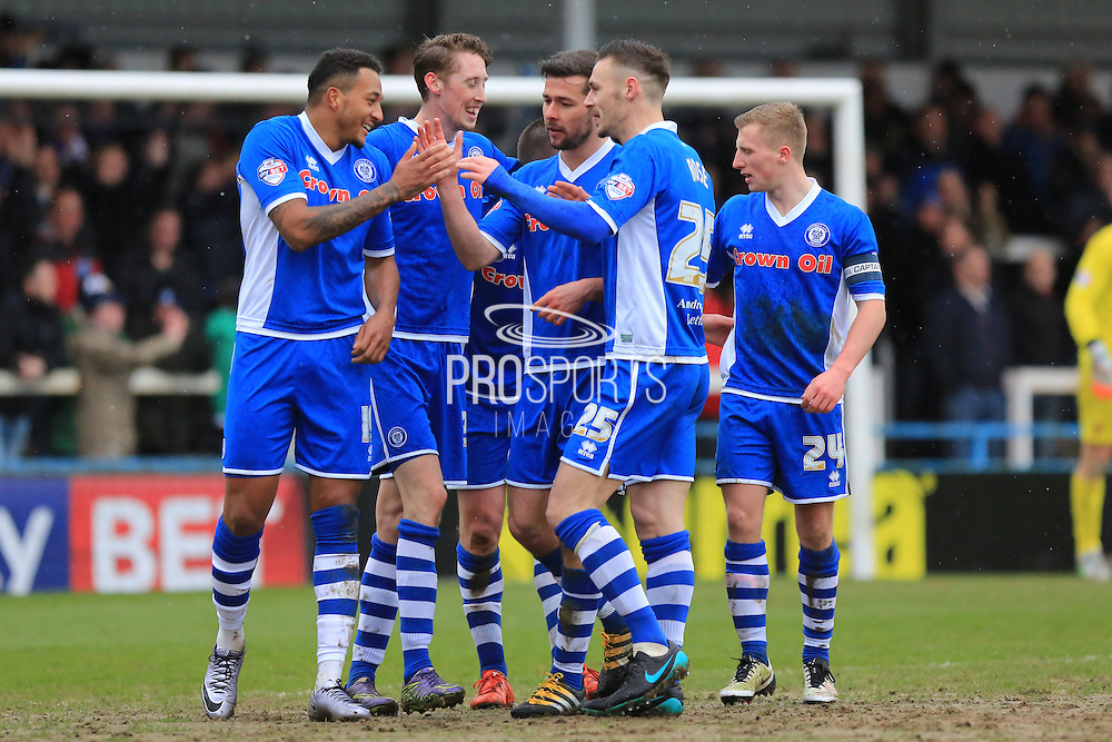 Celebrations Nathaniel Mendez-Laing goal 3-0 during the Sky Bet League 1 match between Rochdale and Blackpool at Spotland, Rochdale, England on 16 April 2016. Photo by Daniel Youngs.