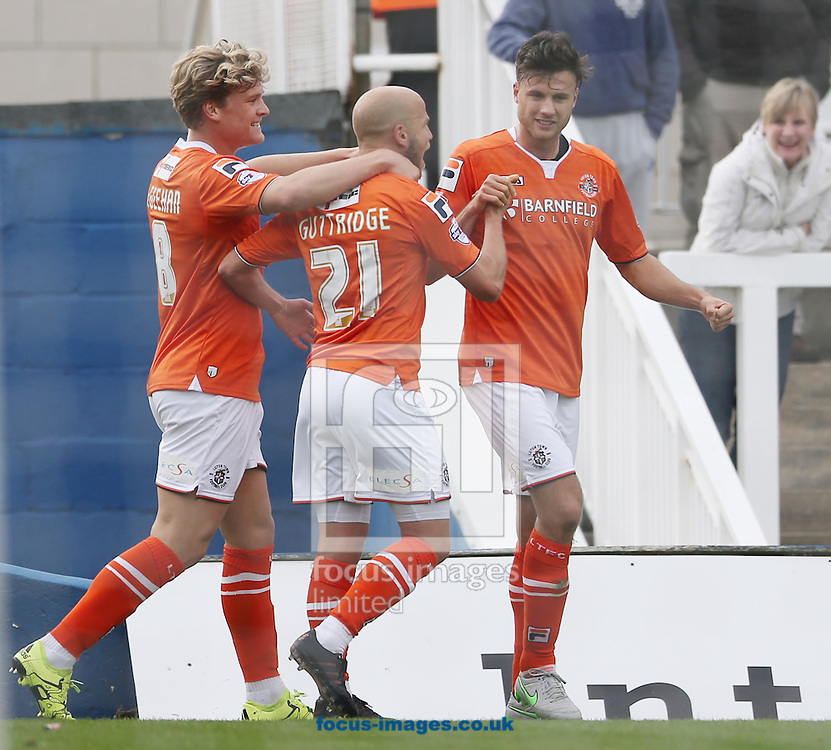 Jonathan Smith (r) of Luton Town celebrates scoring the opening goal during the Sky Bet League 2 match at Victoria Park, Hartlepool<br /> Picture by Simon Moore/Focus Images Ltd 07807 671782<br /> 03/10/2015