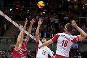 (C) Lukasz Zygadlo from Poland in action during the 2013 CEV VELUX Volleyball European Championship match between Poland and Turkey at Ergo Arena in Gdansk on September 20, 2013.<br /> <br /> Poland, Gdansk, September 20, 2013<br /> <br /> Picture also available in RAW (NEF) or TIFF format on special request.<br /> <br /> For editorial use only. Any commercial or promotional use requires permission.<br /> <br /> Mandatory credit:<br /> Photo by &copy; Adam Nurkiewicz / Mediasport