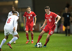 NEWPORT, WALES - Tuesday, October 16, 2018: Wales' Nathan Broadhead in action during the UEFA Under-21 Championship Italy 2019 Qualifying Group B match between Wales and Switzerland at Rodney Parade. (Pic by Laura Malkin/Propaganda)