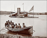 """Civil War: Double turreted Monitor Onondaga, on the James River, Virginia. Photo by Brady & Co. (Washington, D.C.) circa 1863. Sailors seated in rowboat coming ashore with the """"Onondaga,"""" flag on stern, in the distance."""