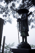A statue of the Buddhist monk Kūkai (Kōbō Daishi) at the number 12 temple Shōsan-ji (焼山寺) Shikoku Pilgrimage, Kamiyama, Tokushima Prefecture, Japan