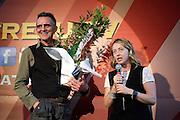Rome sep 25th 2015, Atreju 2015, prize to Giovanni Lindo Ferretti. In the picture Giovanni Lindo Ferretti, Giorgia Meloni