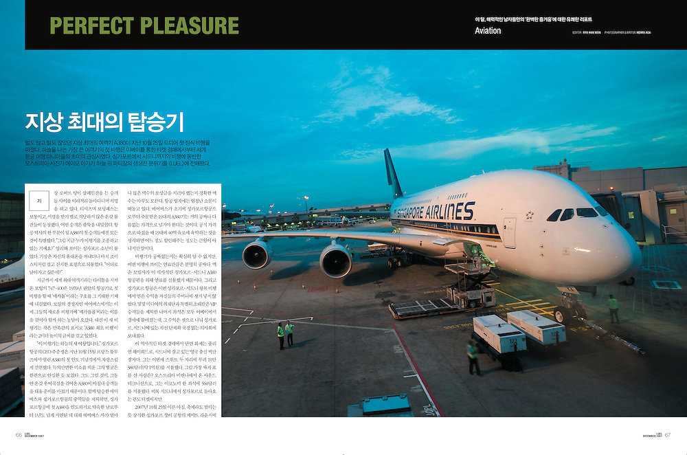 """TEARSHEET: """"SQ380 - The Airbus A380's first commercial flight"""" by Heimo Aga for LUEL."""