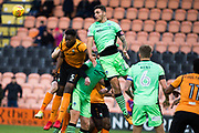 Barnet Ricardo Almeida Santos (5) and Colchester Ryan Inniss (26) rises up from a Barnet corner  during the EFL Sky Bet League 2 match between Barnet and Colchester United at Underhill Stadium, London, England on 11 November 2017. Photo by Robin Pope.