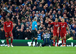 LIVERPOOL, ENGLAND - Sunday, October 7, 2018: Liverpool's Virgil van Dijk and Dejan Lovren appeal to referee Martin Atkinson after a penalty is awarded during the FA Premier League match between Liverpool FC and Manchester City FC at Anfield. (Pic by David Rawcliffe/Propaganda)