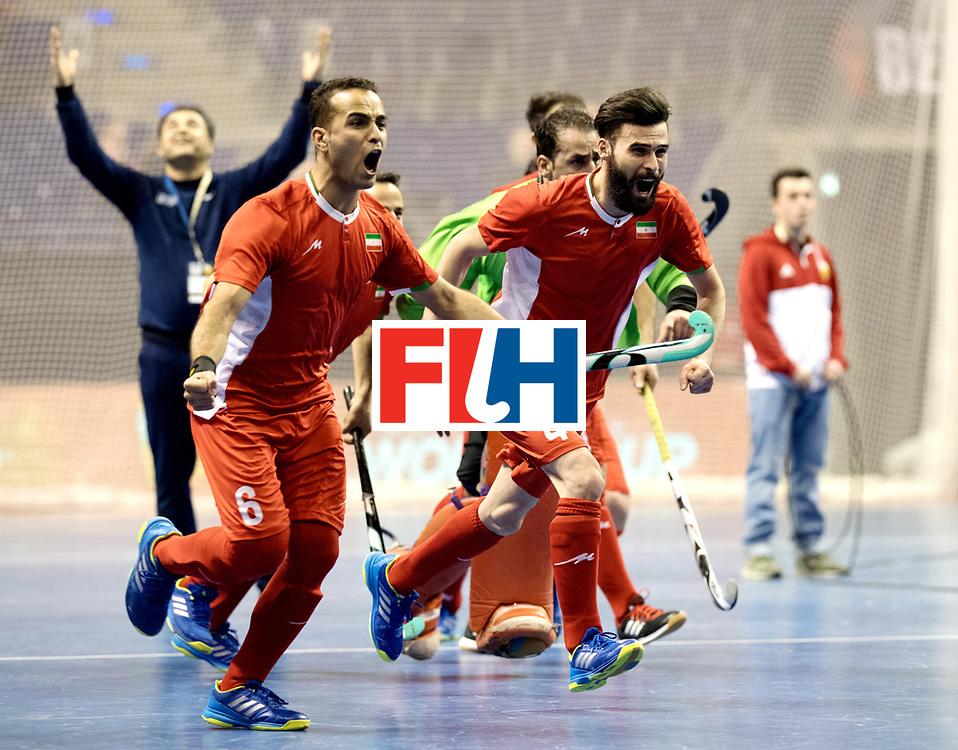 BERLIN - Indoor Hockey World Cup<br /> Quarterfinal 1: Iran - Czech Republic<br /> foto: Iran celebrates the win.<br /> WORLDSPORTPICS COPYRIGHT FRANK UIJLENBROEK