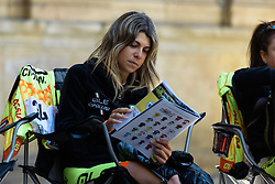 Dalia Muccioli checks the race guide - Emakumeen Saria - Durango-Durango 2016. A 113km road race starting and finishing in Durango, Spain on 12th April 2016.