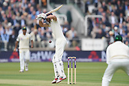 Alastair Cook of England leaves the first ball of the day of the NatWest Test Match match at Lord's, London<br /> Picture by Simon Dael/Focus Images Ltd 07866 555979<br /> 24/05/2018