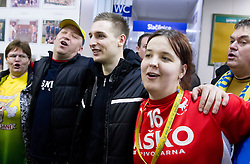 Gasper Marguc of Celje celebrates with his fans after winning the  handball match between RK Celje Pivovarna Lasko and RK Gorenje Velenje in final of Slovenian Cup 2013, on March 3, 2013 in Arena Tri Lilije, Lasko, Slovenia. Celje PL defeated Gorenje Velenje 28-24 and became Slovenian Cup Champion 2013. (Photo By Vid Ponikvar / Sportida)