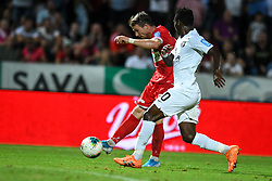 Jure Matjašič of Aluminij and Eric Boakye of Olimpija during football match between NK Aluminij and NK Olimpija in 6st Round of Prva liga Telekom Slovenije 2019/20, on August 18, 2019 in Sportni park NK Aluminij, Kidricevo, Slovenia. Photo by Milos Vujinovic / Sportida