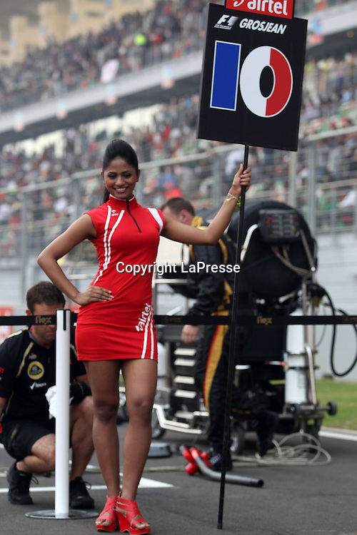 &copy; Photo4 / LaPresse<br /> 28/10/2012 Noida, India<br /> Sport <br /> Indian Grand Prix, Noida 25-28 October 2012<br /> In the pic: Grid girl