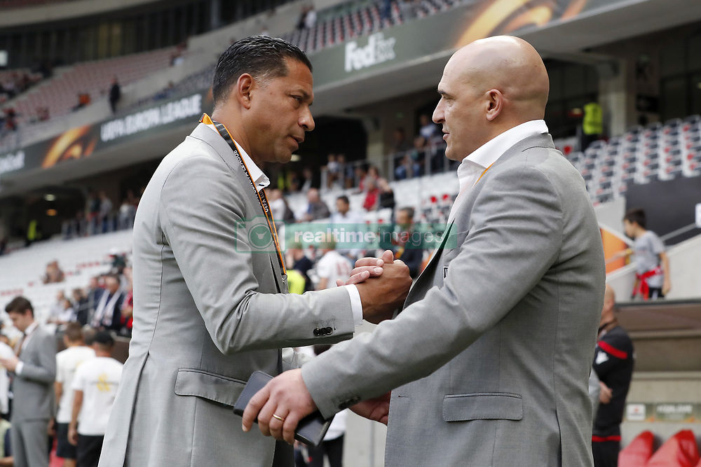 (L-R) coach Henk Fraser of Vitesse, technical director Mo Allach of Vitesse, during the UEFA Europa League group K match  match between OGC Nice and Vitesse Arnhem on September 28, 2017 at the Allianz Riviera in Nice, France
