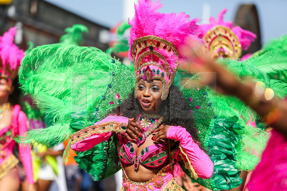© Licensed to London News Pictures. 26/08/2019. London, UK. Dancers and performers parade on the second day of Notting Hill Carnival in west London. Thousands of revellers take part in Notting Hill Carnival, Europe's largest street party and a celebration of Caribbean traditions and the capital's cultural diversity. Photo credit: Dinendra Haria/LNP