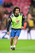 Marcelo of Brazil warms up ahead of the international friendly match between England and Brazil at Wembley Stadium, London, England on 14 November 2017. Photo by Darren Musgrove.