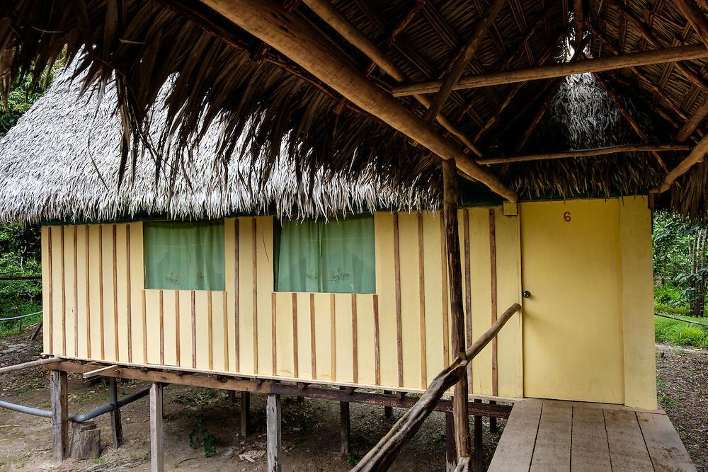 LORETO, PERU - CIRCA OCTOBER 2015:  Cabin in the  Lodge Curuhuinsi in Puerto Miguel, in the Yarapa river in the Peruvian Amazon.