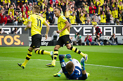 19.10.2013, Signal Iduna Park, GER, 1. FBL, GER, 1. FBL, Borussia Dortmund vs Hannover 96, 9. Runde, im Bild Jubel Marco Reus (#11 Dortmund), Pierre-Emerick Aubameyang (#17 Dortmund) nach dem 1-0 Dortmund // during the German Bundesliga 9th round match between Borussia Dortmund and Hannover 96 Signal Iduna Park in Dortmund, Germany on 2013/10/19. EXPA Pictures &copy; 2013, PhotoCredit: EXPA/ Eibner-Pressefoto/ Kurth<br /> <br /> *****ATTENTION - OUT of GER*****