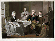 Washington and his family: George and Martha Washington seated at table, Nelly Custis  and George Washington Custis standing, servant entering the room. Coloured mezzotint c1864 after painting by Christian Schussele.