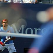 Roger Federer, Switzerland, shot through the racquet of Fernando Verdasco, Spain, during the US Open Tennis Tournament, Flushing, New York. USA. 1st September 2012. Photo Tim Clayton