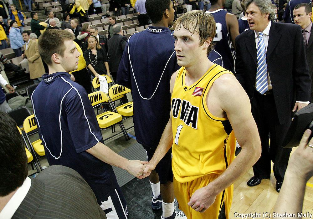 24 JANUARY 2007: Iowa guard Adam Haluska (1) after Iowa's 79-63 win over Penn State at Carver-Hawkeye Arena in Iowa City, Iowa on January 24, 2007.