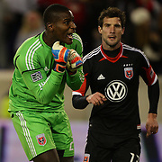D.C. United keeper Bill Hamid protests his sending off during the New York Red Bulls V D.C. United Major League Soccer, Eastern Conference Semi Final 2nd Leg match at Red Bull Arena, Harrison. New Jersey. USA. 8th November 2012. Photo Tim Clayton