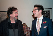 Tim burton; Hobby Limon, Lulu Guinness And Rob Ryan Fan Bag - Launch Party. Air Gallery. London. 10 November 2010.  -DO NOT ARCHIVE-© Copyright Photograph by Dafydd Jones. 248 Clapham Rd. London SW9 0PZ. Tel 0207 820 0771. www.dafjones.com.