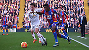 Ex United player Wilfred Zaha looks to beat Matteo Darmain during the Barclays Premier League match between Crystal Palace and Manchester United at Selhurst Park, London, England on 31 October 2015. Photo by Michael Hulf.