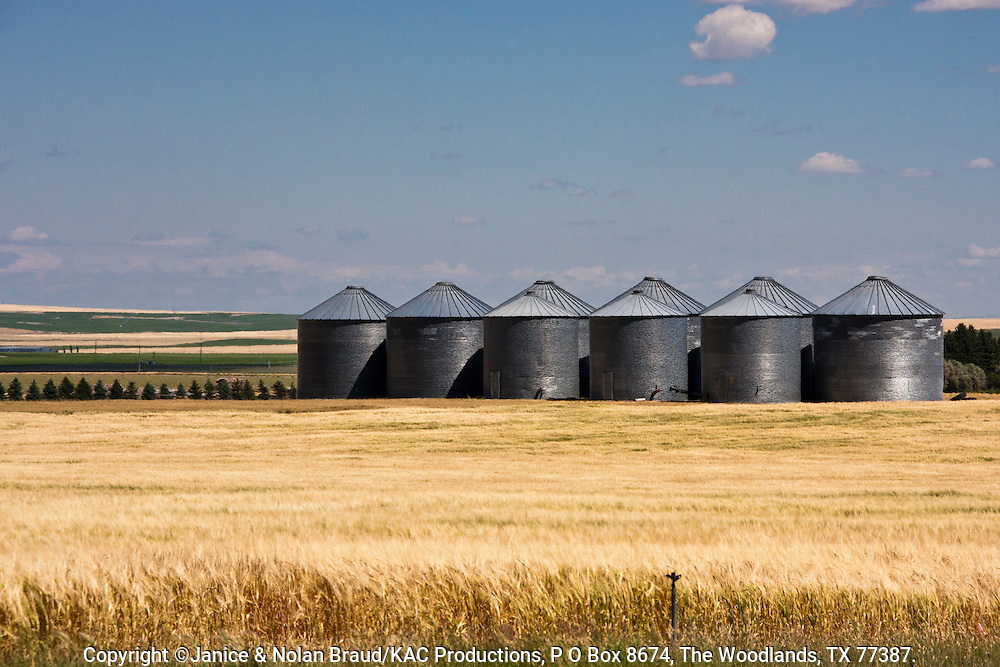Storage Silos on Idaho farm. Both potato and grain farming are major industries in Idaho, especially in the Snake River Plains. Irrigation is essential for farming in southeastern Idaho.