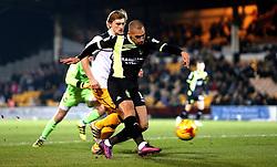 James Vaughan of Bury shoots at goal - Mandatory by-line: Robbie Stephenson/JMP - 20/01/2017 - FOOTBALL - Vale Park - Stoke-on-Trent, England - Port Vale v Bury - Sky Bet League One