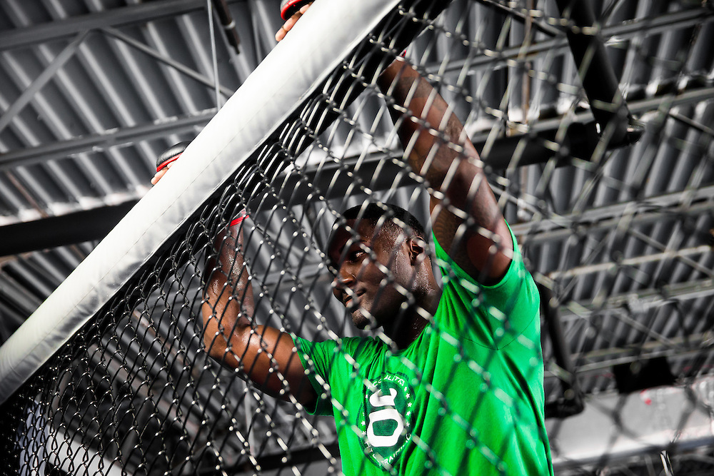 "BOCA RATON, Fla. (April 27, 2015) – MMA fighter Anthony ""Rumble"" Johnson during training for his upcoming match against Jon Jones - who was replaced by Daniel Cromier after Jones' legal issues - at Jaco Hybrid Training Center in Boca Raton, Florida. (Photo by Chip Litherland for ESPN the Magazine)"