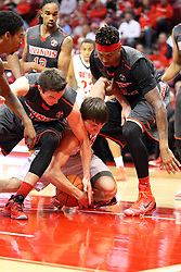 08 November 2015: Justin McCloud(15), Jacob Norman(10), and Nick Banyard(0) all scramble for a loose ball under one of the baskets. Illinois State Redbirds host the Southern Indiana Screaming Eagles and beat them 88-81 in an exhibition game at Redbird Arena in Normal Illinois (Photo by Alan Look)
